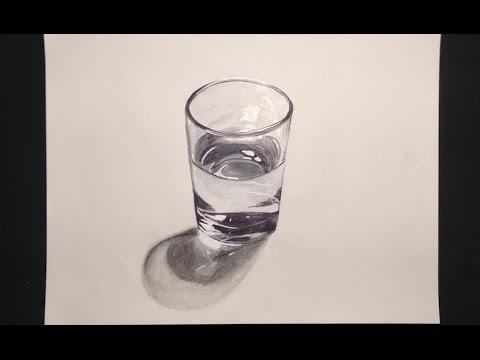 3D Como hacer un dibujo de un vaso de agua realista  Artisteando