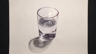3D Como hacer un dibujo de un vaso de agua realista - Artisteando