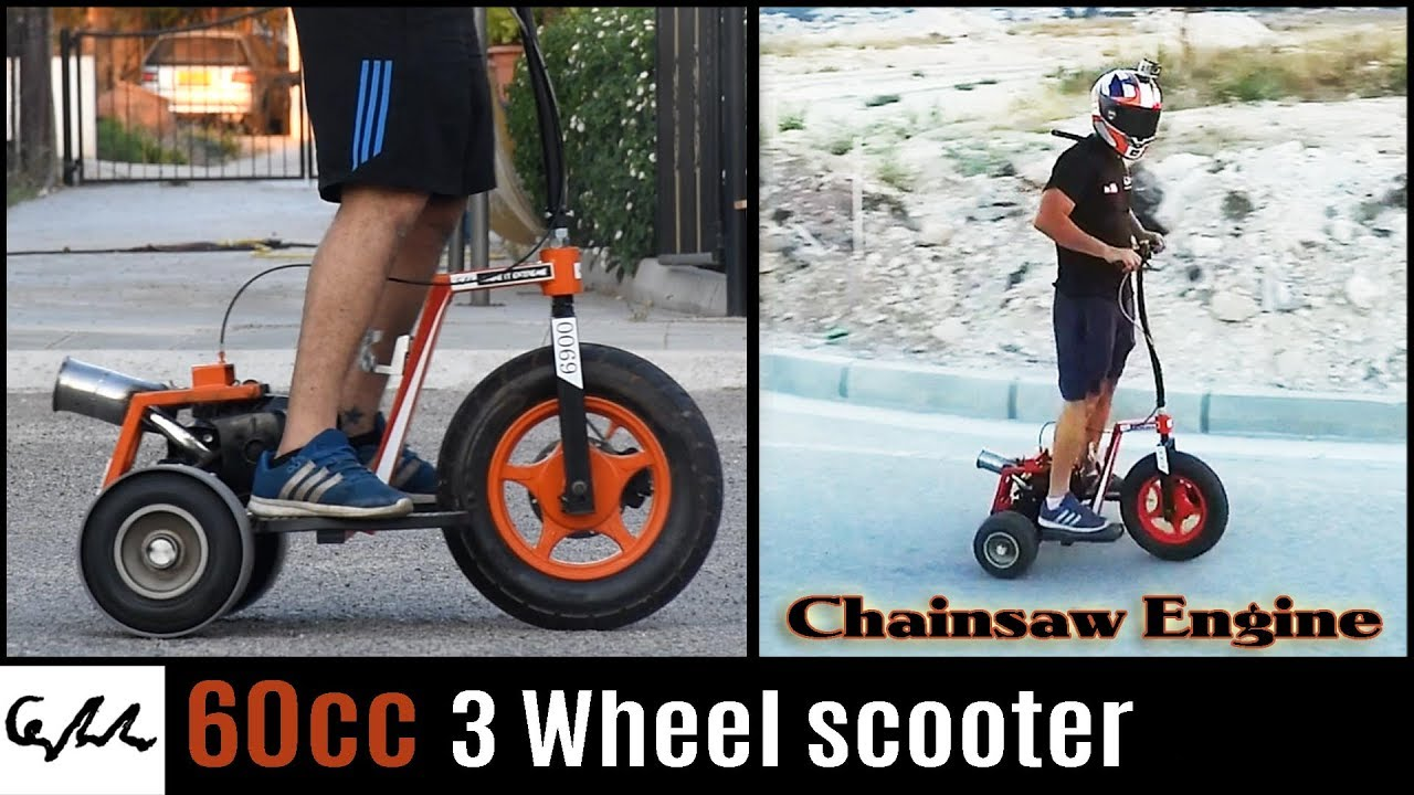 Chainsaw engine 3 wheel scooter youtube for Motor scooter 3 wheels