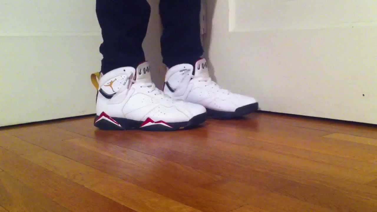 4e11b04e238e0d Jordan 7 Cardinal On Foot - YouTube