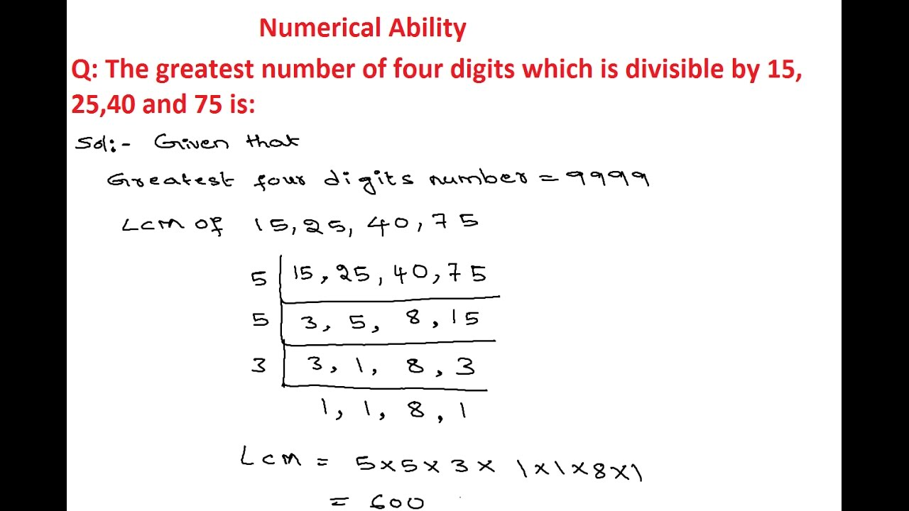 Numerical Ability 12 | LCM And HCF Questions and Answers ...