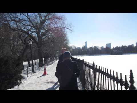 Central park frozen lake near Carnegie mansion and Guggenheim - NYC