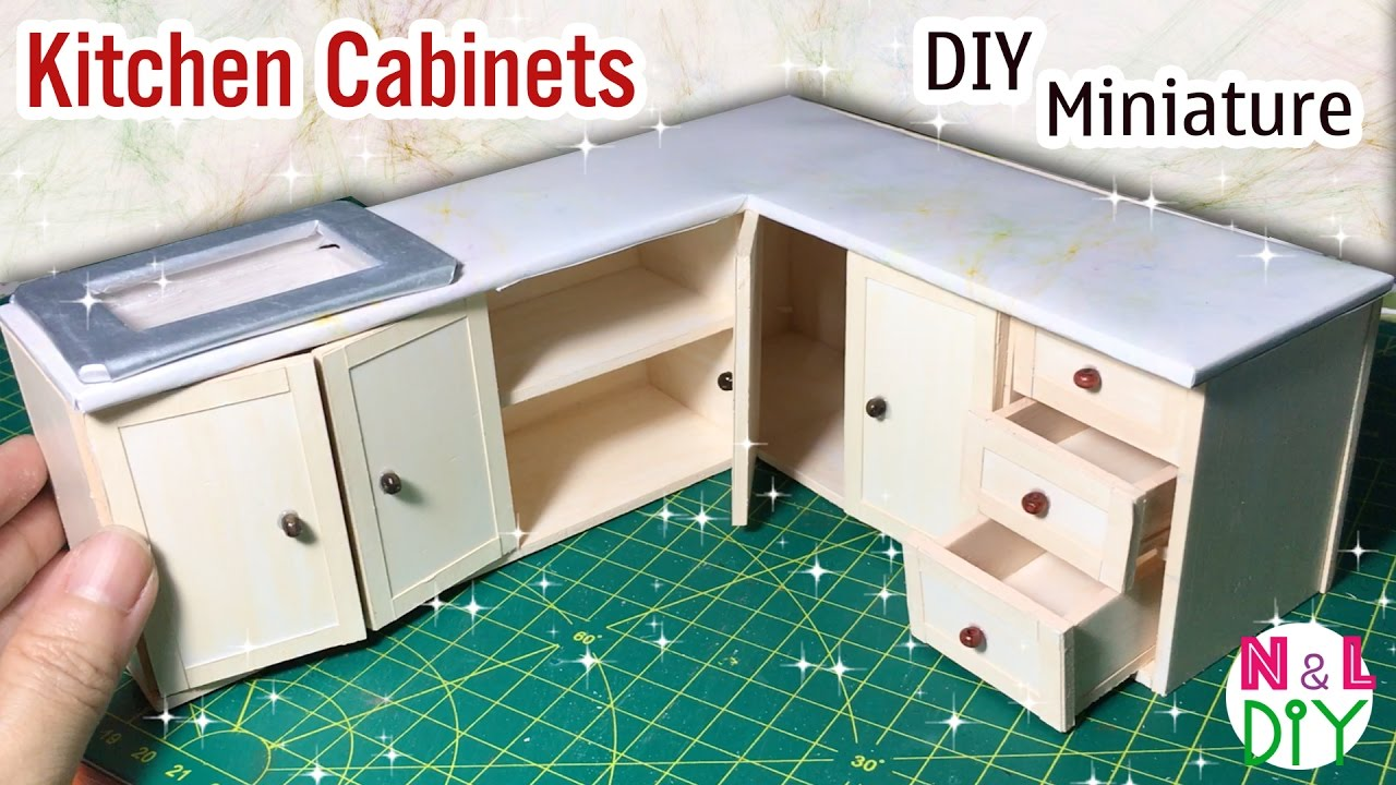 DIY Miniature Kitchen Cabinets | How to make Kitchen Cabinets for ...
