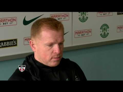 Neil Lennon after Hibs clinching Championship title