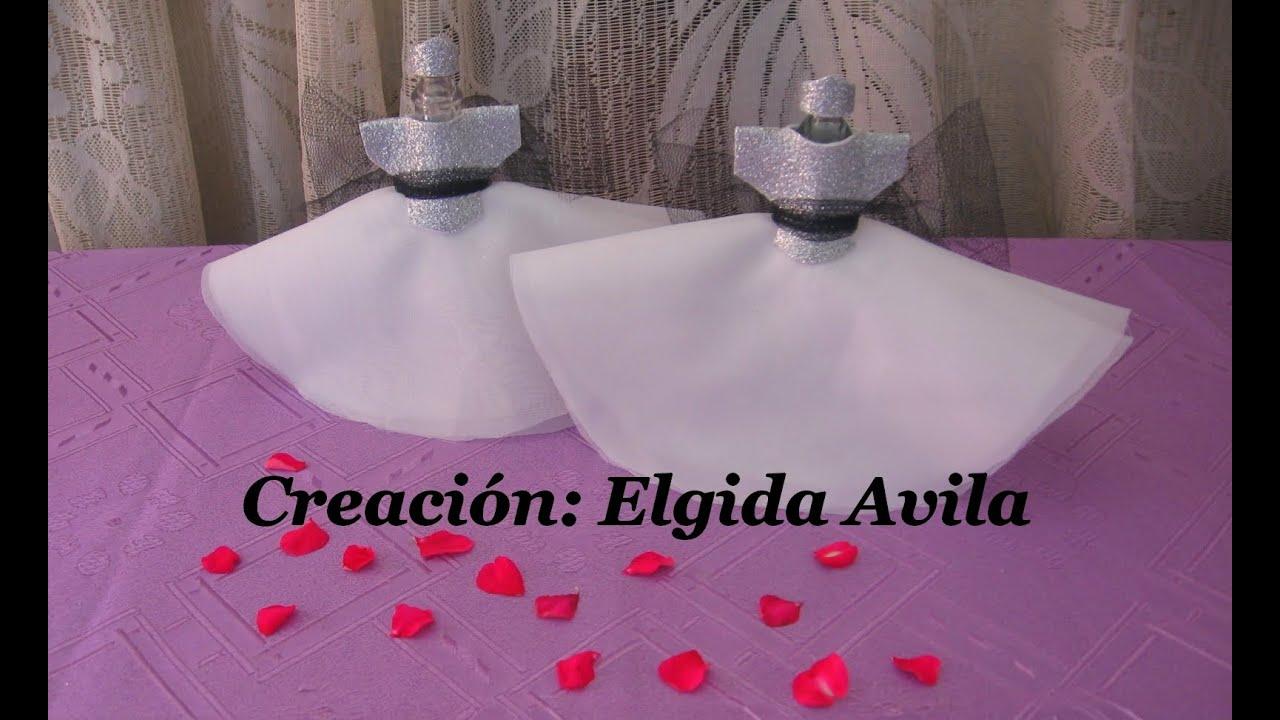 Centro de mesa botella vestida cortejo de novia - YouTube