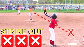 Kid Pitches 3 STRIKE OUTS at Baseball Game! ⚾️⚾️⚾️