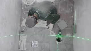 욕실 바닥타일 압착시공(줄눈맞춤:200*200)