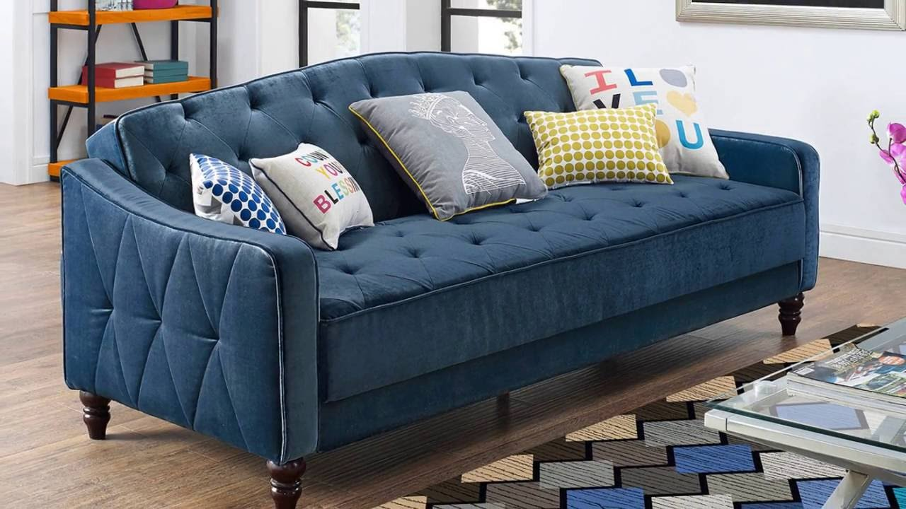 9 by Novogratz Vintage Tufted Sofa Sleeper II - 9 By Novogratz Vintage Tufted Sofa Sleeper II - YouTube