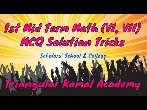 1st Mid Term Examination Math MCQ Solution Tricks    Math Class VI & VII MCQ    Triangular Kamal