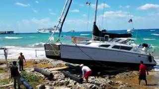 Catamaran wrecked on Cozumel Beach