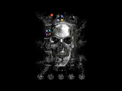You can get Hell Skull phone theme with glitter silver skeleton live wallpaper and black & silver lock screen and silver icons pack!