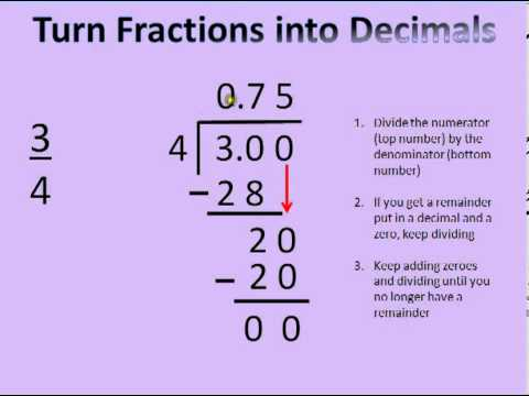 how to write fractions into decimals Converting fractions to decimals is just another way of expressing division the same tools you use to divide whole numbers help you turn a fraction into a decimal in addition, you can use a few shortcuts to make the process simpler to understand.