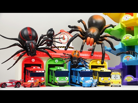 Tayo The Little Bus Garage Disney Pixar Cars Is Under Attack Spider Transformer Police Car Toys