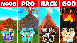 Minecraft Battle VOLCANO FAMILY HOUSE - NOOB vs PRO vs HACKER vs GOD in Minecraft Animation