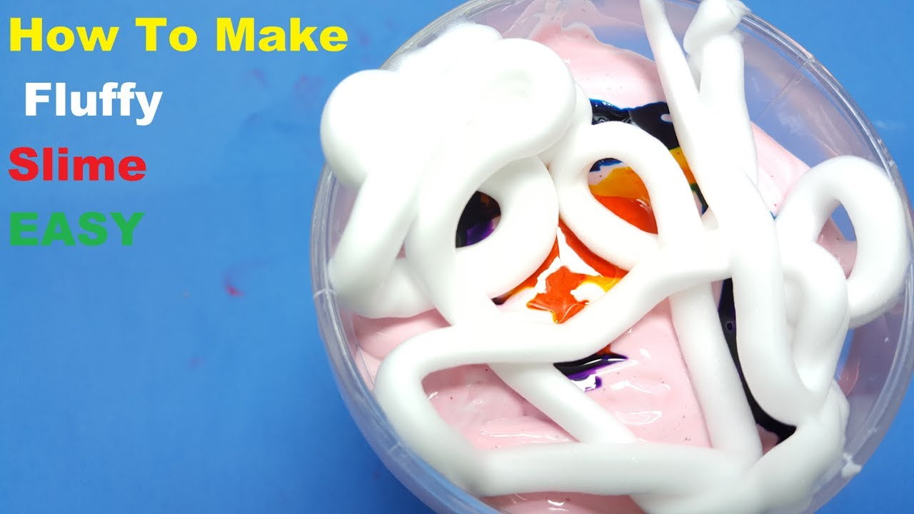 How To Make Fluffy Slime With Shaving Cream No Borax Or Liquid Starch Diy  Slime