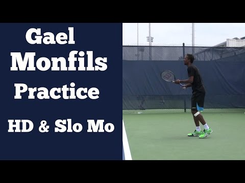 Gael Monfils Forehand, Backhand, volleys, and Slow Motion Serve