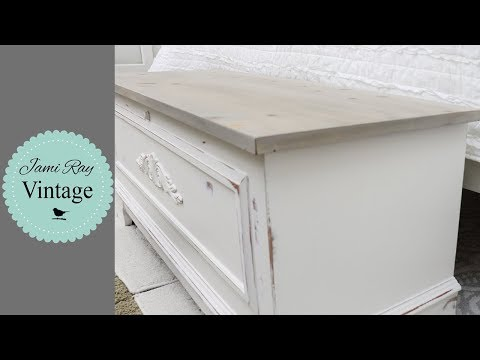 Whitewashed Cedar Chest | Faux Driftwood Top