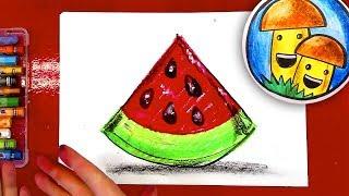 Как нарисовать АРБУЗ урок рисования для детей масляной пастелью