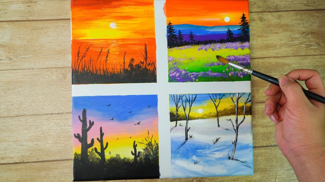 Set Of 4 Drawing Sunset 4 Seasons Painting Ideas Easy Acrylic Painting On Canvas Youtube