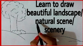 How to draw a landscape ? Draw easy natural scene | Scenery drawing for kids and beginners | its art