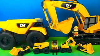 CAT MIGHTY MACHINES SMALL VS BIG AT SANDBOX JOBSITE WITH FORKLIFT EXCAVATOR BULLDOZER DUMP TRUCK