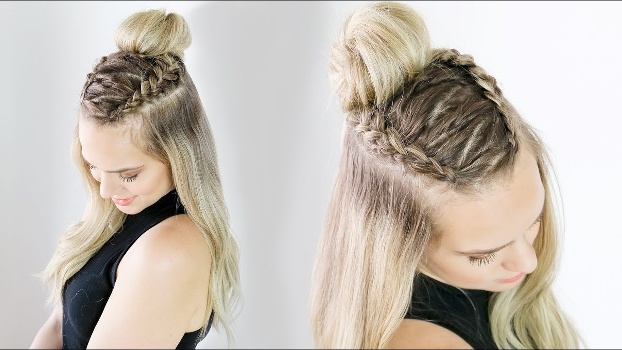 Hairstyles For Short Hair Half Up Half Down: Zig Zag Half Updo On Long And Short Hair!