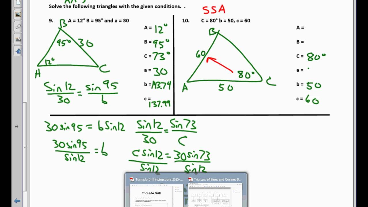 Plane Trigonometry Unit 31 Notes Law of Sines Worksheet last two – Law of Sines Worksheet