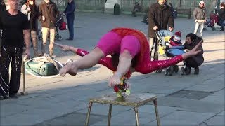 Gymnast Contortionist and Fakir Acrobat. Amazing Street Performers Seen in Turin, Italy