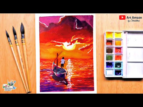 Watercolour Drawing for beginners Easy watercolor painting Tutorial Beautiful Sunset Scenery Drawing