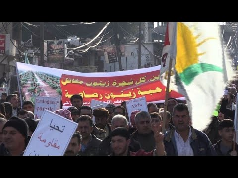 Syrian Kurds demonstrate against Turkish operation in Afrin