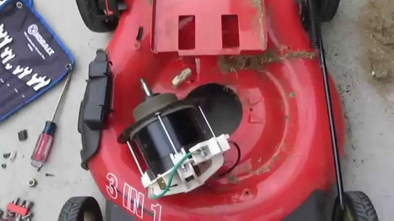 homelite 24v cordless lawn mower tear down to get dc motor