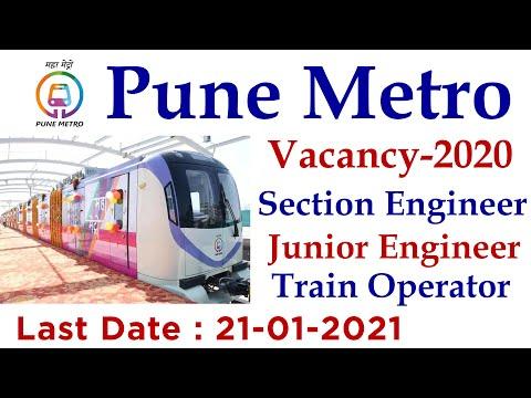 Pune Metro JE, Section Engineer, Train Operator Recruitment 2021| Metro Rail Vacancy 2021|Maha Metro