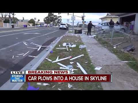 Car plows into Skyline-area home