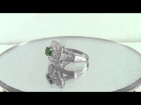 Estate 1.25ct Diamond & Emerald 14K White Gold Beatiful Ring