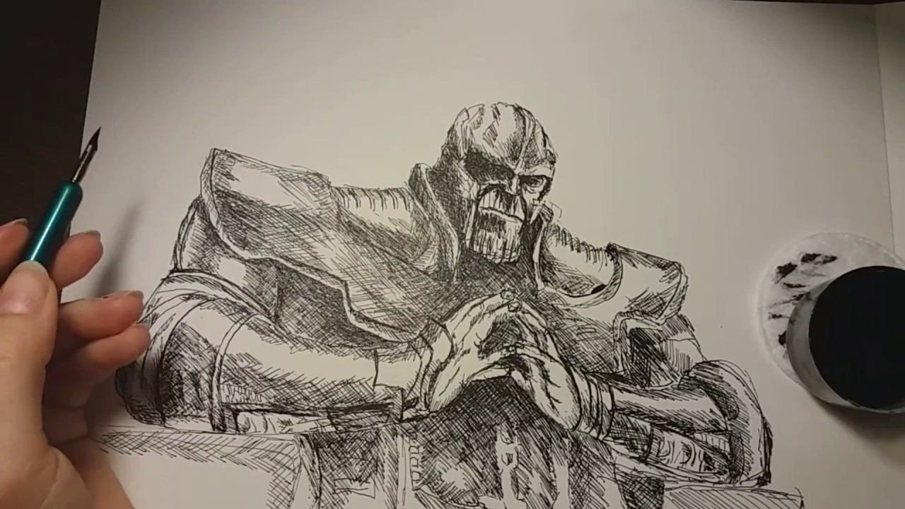 Drawing THANOS Infinity War Avengers - Drawing Thanos In Pen And Ink - YouTube
