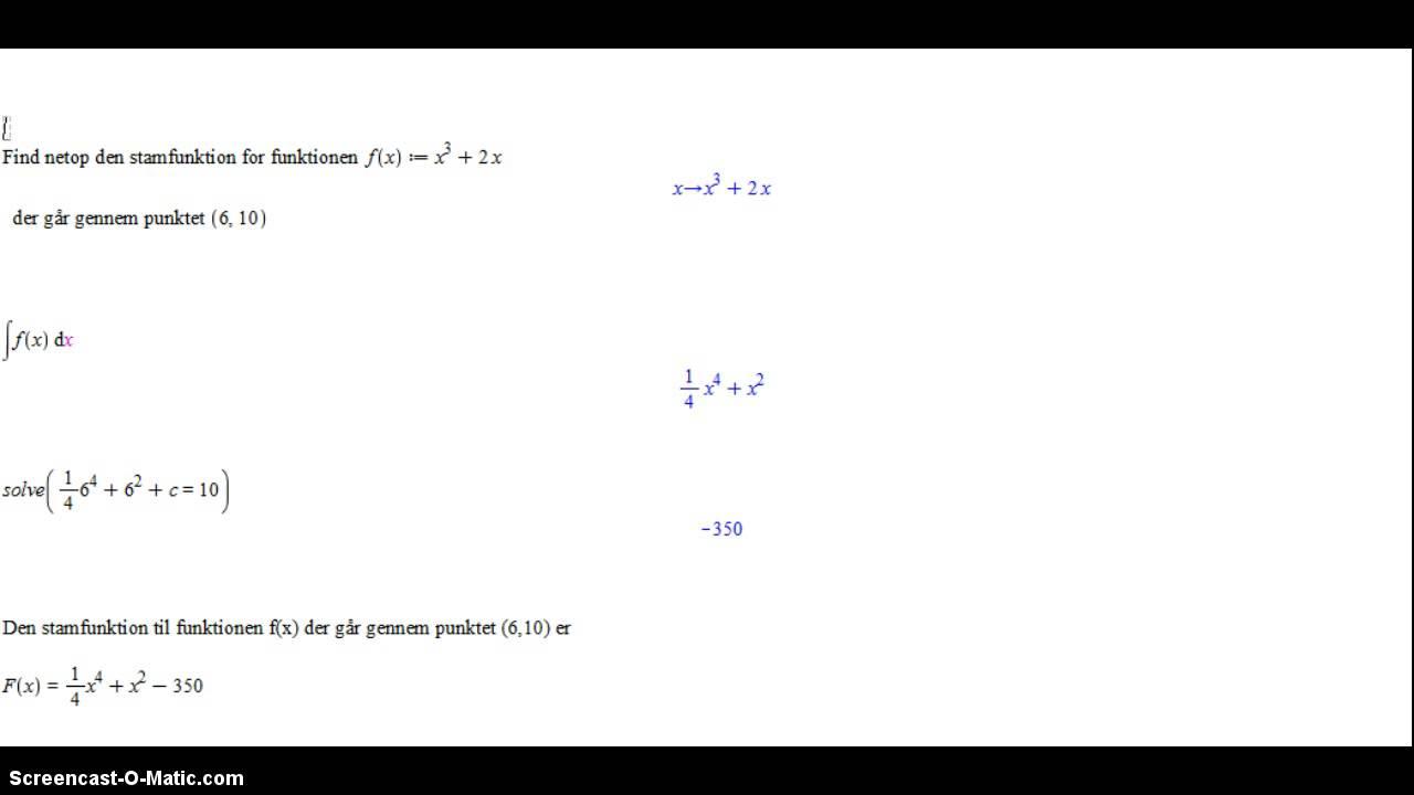 Stamfunktion igennem et bestemt punkt - opgave 5
