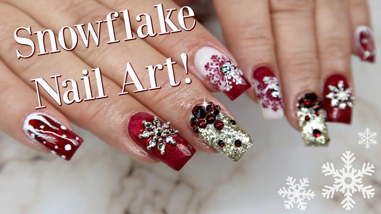 Swarovski Crystal Snowflake Nail Art | Day 2 - YouTube