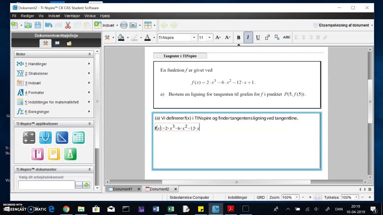 TINspire: find tangentens ligning