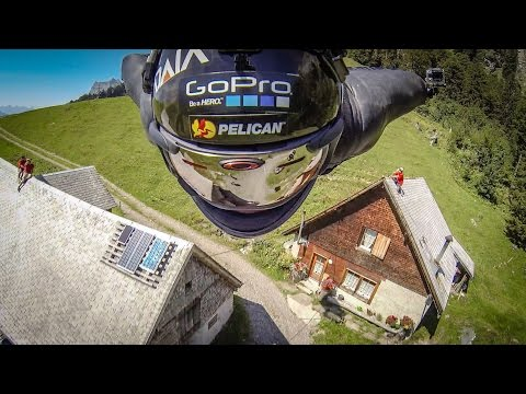 Flying wing-suits on the barn line in 4K