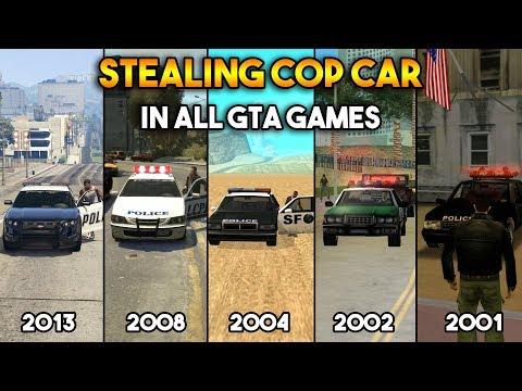 GTA : STEALING COP CAR IN ALL GTA GAMES !