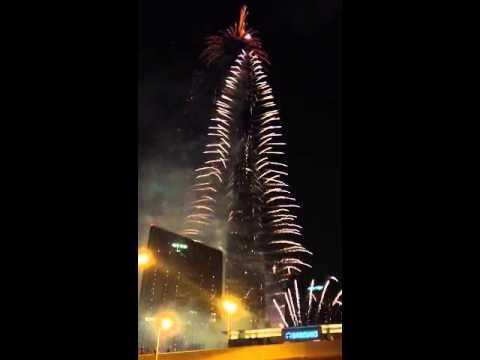 Dubai Burj Khalifa Fireworks 2013 New Year