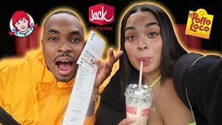 Letting The Person in Front of Me DECIDE What i EAT For 24 HOURS! | HEATHER AND TRELL