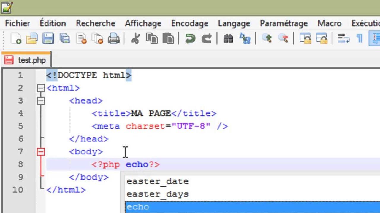 Php 5 Inserer Du Code Php Dans Un Document Html Youtube