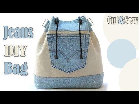 DIY CUTE JEANS SHOULDER BAG TUTORIAL // Jeans Transform Nice Purse
