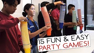 15 Fun & Easy Party Games For Kids And Adults (Minute to Win It Party) Video