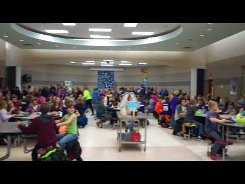Foley Intermediate School Food Service Staff Leads Vikings Skol Chant