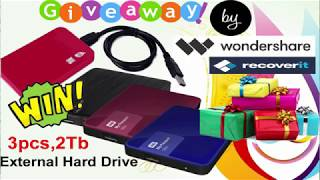 vuclip Giveaway by Wondershare Recoverit ! Chance to Win 2 Tb External Hard drive  ! Hurry up