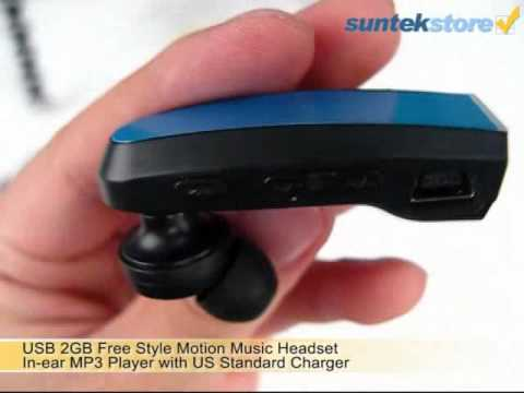 SuntekStore: USB 2GB Free Style Motion Music Headset In-ear MP3 Player with US Standard Charger