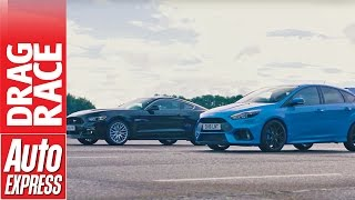 Ford Focus RS vs Ford Mustang drag race: hot hatch upstart takes on muscle car icon