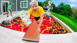 EXTREME FLOOR IS LAVA CHALLENGE!! (LAST TO FALL OFF PLANK WINS $10,000 MERCH)